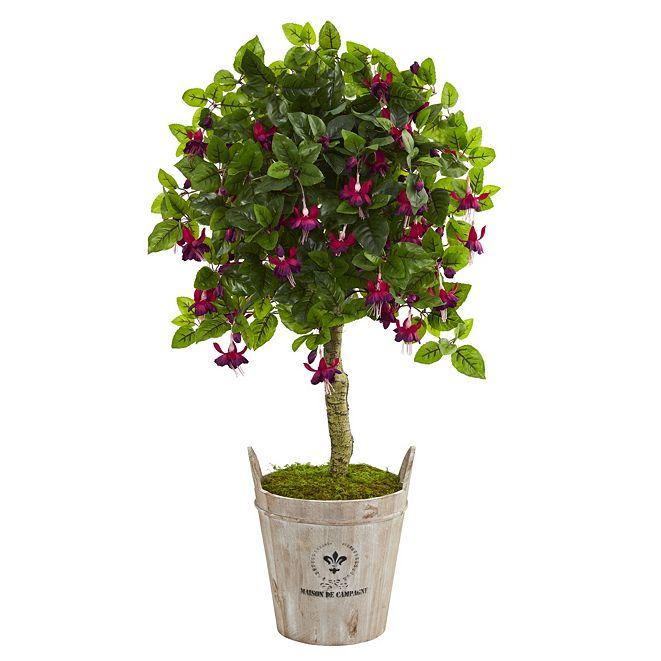 """Nearly Natural 45"""" Fuschia Artificial Tree in Barrel Planter"""