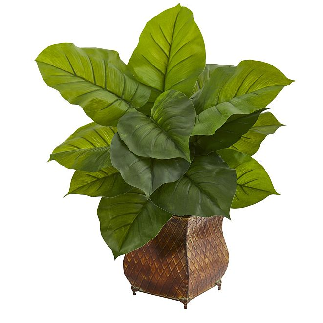 Nearly Natural Large Leaf Philodendron Artificial Plant in Metal Planter - Real Touch