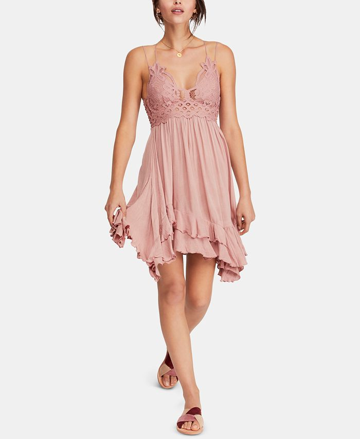 Free People - Adella Crochet-Top Ruffled-Hem Dress