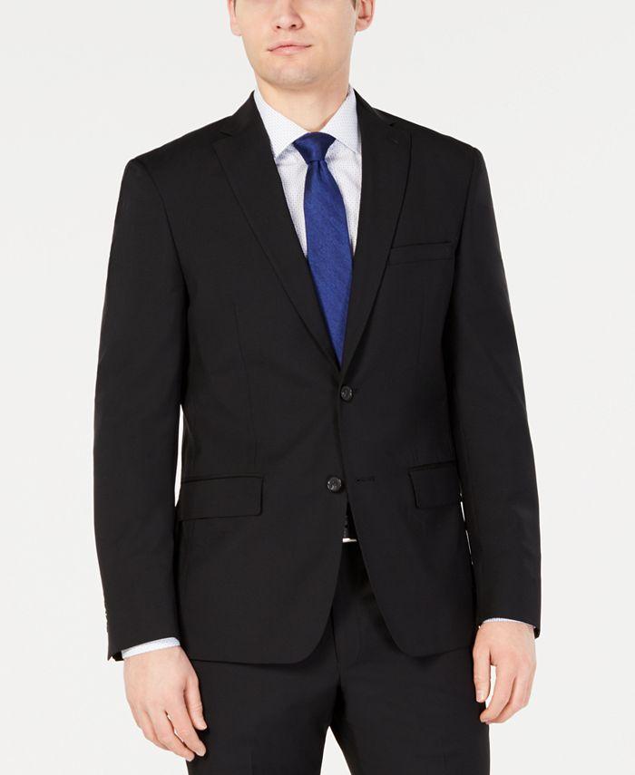 DKNY - Men's Modern-Fit Stretch Black Solid Suit Jacket