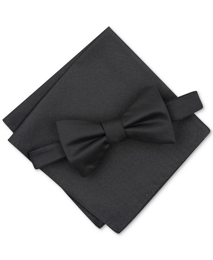 Alfani - Men's Solid Textured Pre-Tied Bow Tie & Solid Textured Pocket Square Set