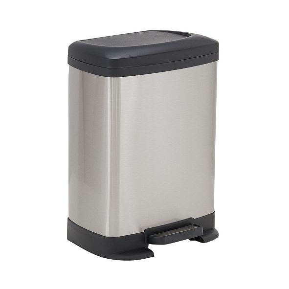 Household Essentials Stainless Steel 8L Saxony Rectangle Trash Can