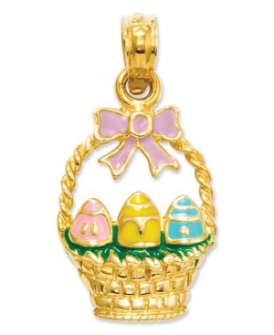 gold easter basket pendant