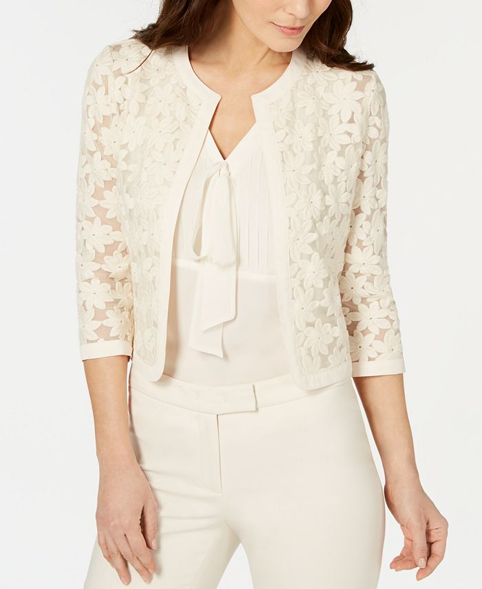 Anne Klein - Broderie Cropped Lace Cardigan