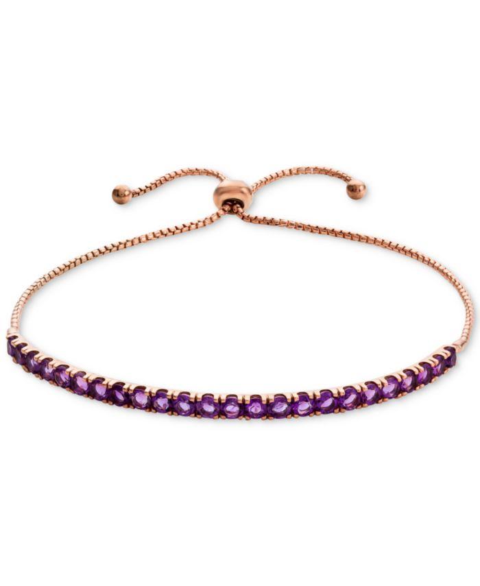 Macy's Blue Topaz (2 ct. t.w.) Bolo Bracelet in 10k White Gold(Also Available in Amethyst & Garnet) & Reviews - Bracelets - Jewelry & Watches - Macy's