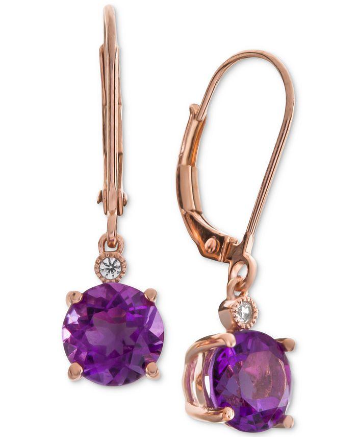 Macy's - Amethyst (2-1/5 ct. t.w.) & Diamond Accent Drop Earrings in 14k Rose Gold (Also Available In Blue Topaz, Mystic Quartz, Citrine, & Garnet)