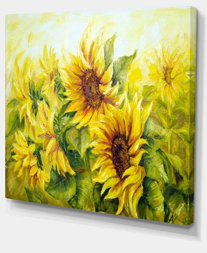 Design Art Designart Bright Yellow Sunny Sunflowers Floral Painting Canvas 40 X 30 Reviews Wall Art Macy S