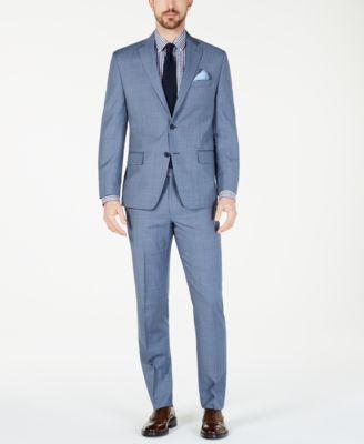 Men's Classic-Fit Airsoft Stretch Light Blue Windowpane Suit Pants