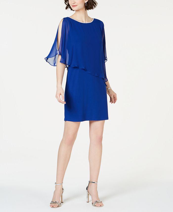 MSK - Rhinestone-Trim Chiffon Popover Dress