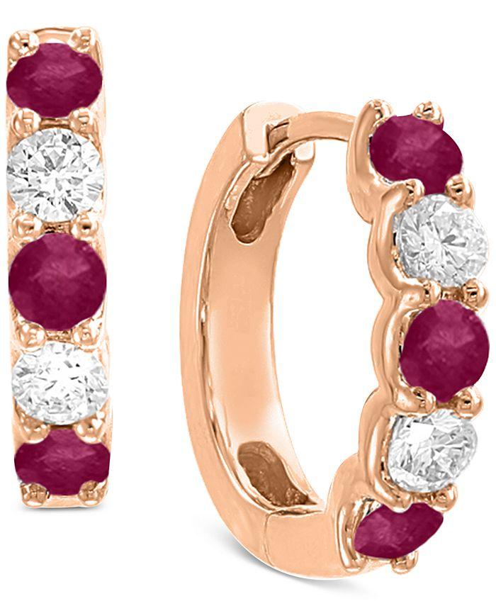 EFFY Collection - Certified Ruby (3/4 ct. t.w.) & Diamond (3/8 ct. t.w.) Hoop Earrings in 14k Rose Gold