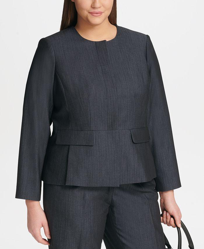 Calvin Klein - Plus Size Zip-Front Denim Jacket