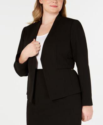 Plus Size Open-Front Soft Crepe Blazer
