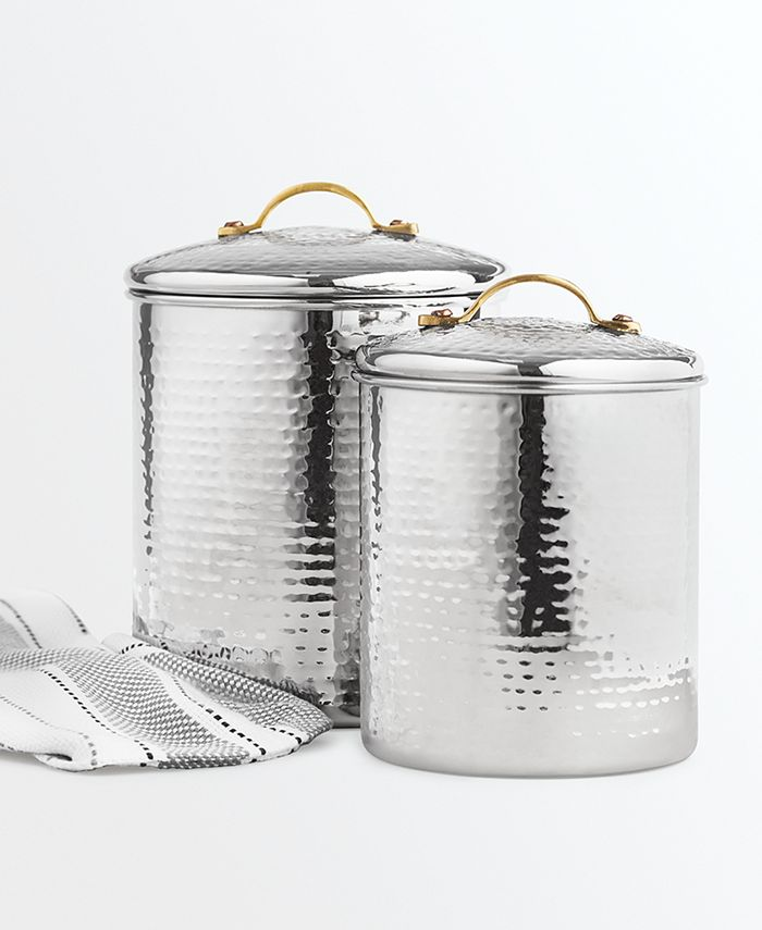 Martha Stewart Collection - Hammered Stainless Steel Canisters, Set of 2