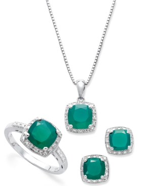Sterling Silver Jewelry Set, Cushion-Cut Green Agate (4-1/10 ct. t.w.) and Diamond Accent Earrings, Ring and Pendant Set