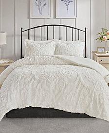 Madison Park Viola Full/Queen 3 Piece Cotton Chenille Damask Comforter Set