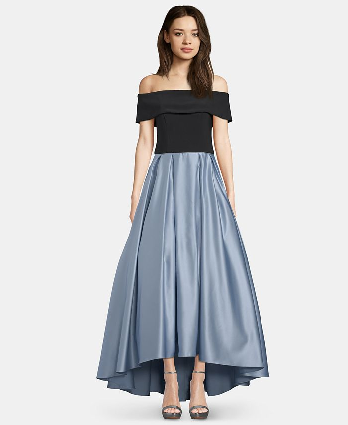 Betsy & Adam - Off-The-Shoulder Satin Ballgown