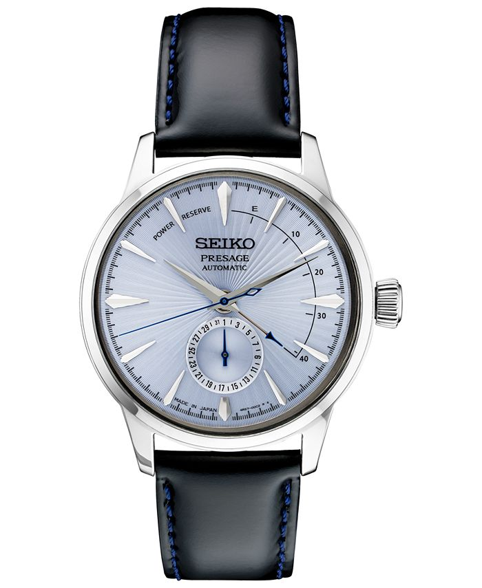 Seiko - Men's Automatic Presage Black Leather Strap Watch 40.5mm