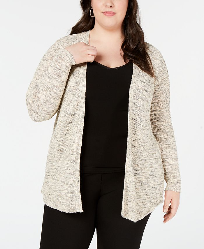 Belldini - Plus Size Heathered Metallic Open-Front Cardigan Sweater