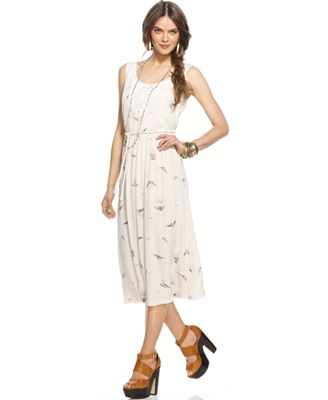 Kensie Dress, Sleeveless Scoop-Neck Bird-Printed A-Line