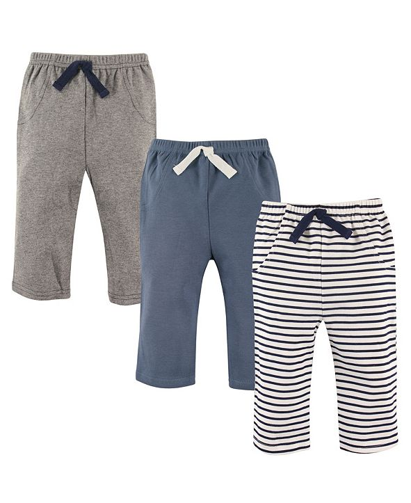 Hudson Baby Pants, 3-Pack, Blue Stripes, 0-24 Months