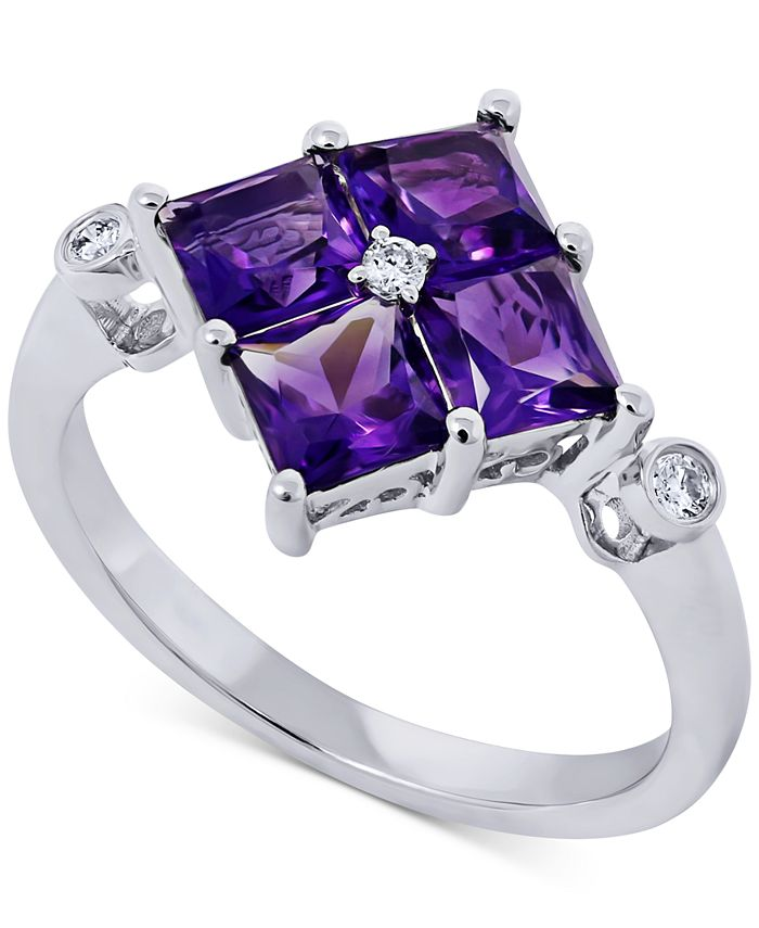 Macy's - Amethyst (1-3/4 ct. t.w.) & Diamond Accent Ring in 14k White Gold
