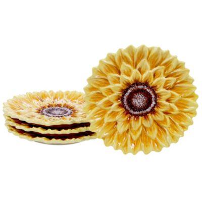 Sunset Sunflower 4-Pc. 3-D Dessert Plate