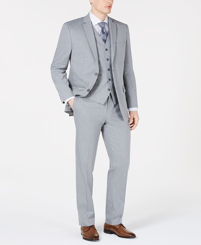 Marc New York - Men's Modern-Fit Sharkskin Vested Suit