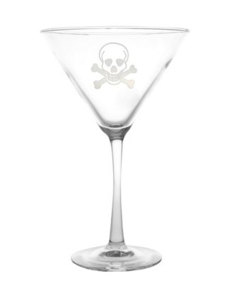Skull and Cross Bones Martini 10Oz - Set Of 4 Glasses