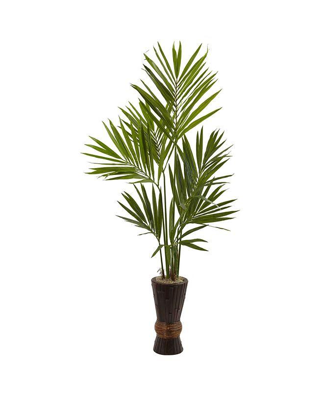 Nearly Natural 6' Kentia Tree w/ Bamboo Planter