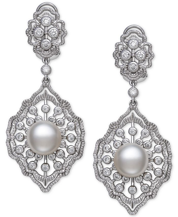 Belle de Mer - Cultured Freshwater Pearl (9-10mm) & Cubic Zirconia Drop Earrings in Sterling Silver, Created for Macy's