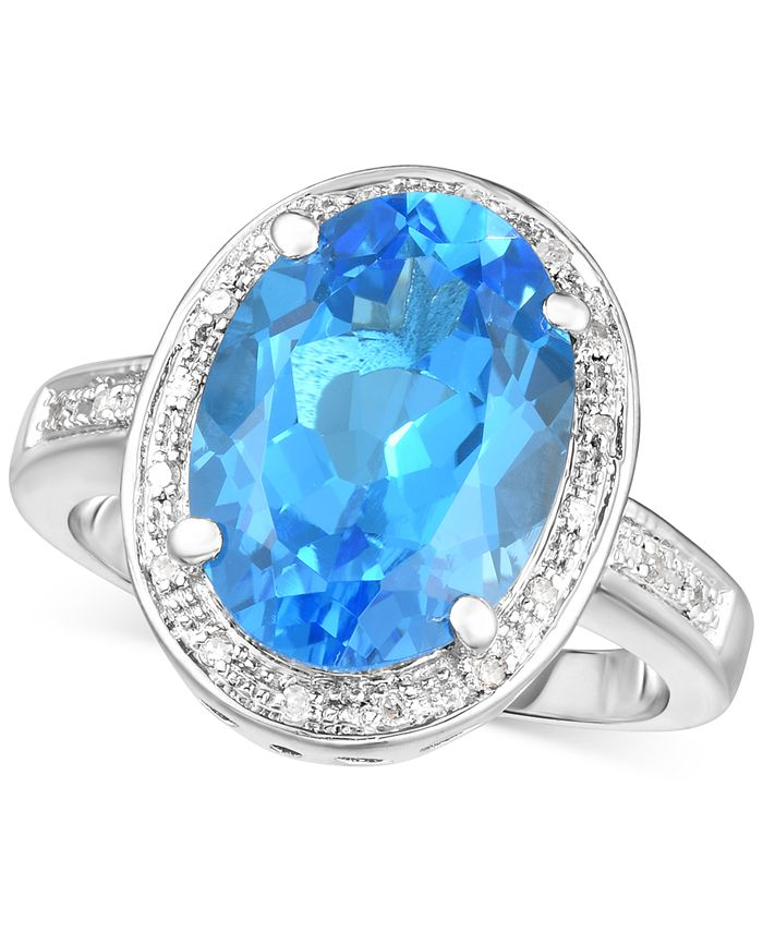 Macy's - Blue Topaz (6-1/2 ct. t.w.) & Diamond (1/10 ct. t.w.) Statement Ring in Sterling Silver
