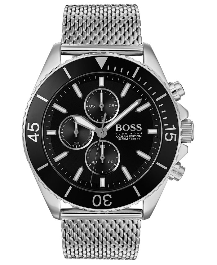 BOSS - Men's Chronograph Ocean Edition Stainless Steel Mesh Bracelet Watch 46mm