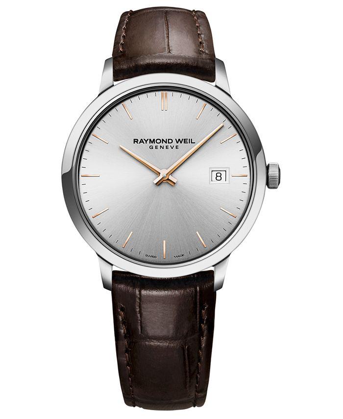 Raymond Weil - Men's Swiss Toccata Brown Leather Strap Watch 39mm
