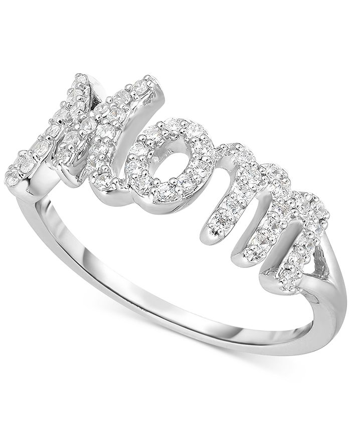 "Macy's - Diamond ""Mom"" Ring (1/4 ct. t.w.) in Sterling Silver"