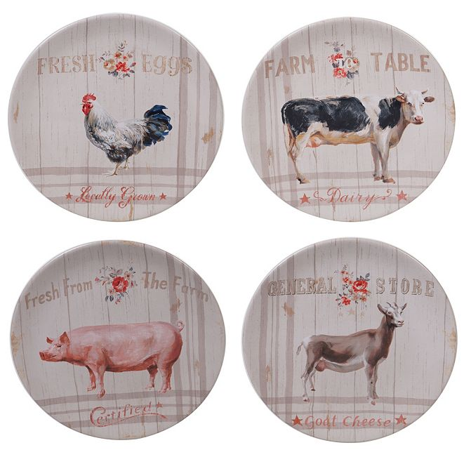 Certified International Farmhouse Dessert Plates, Set of 4