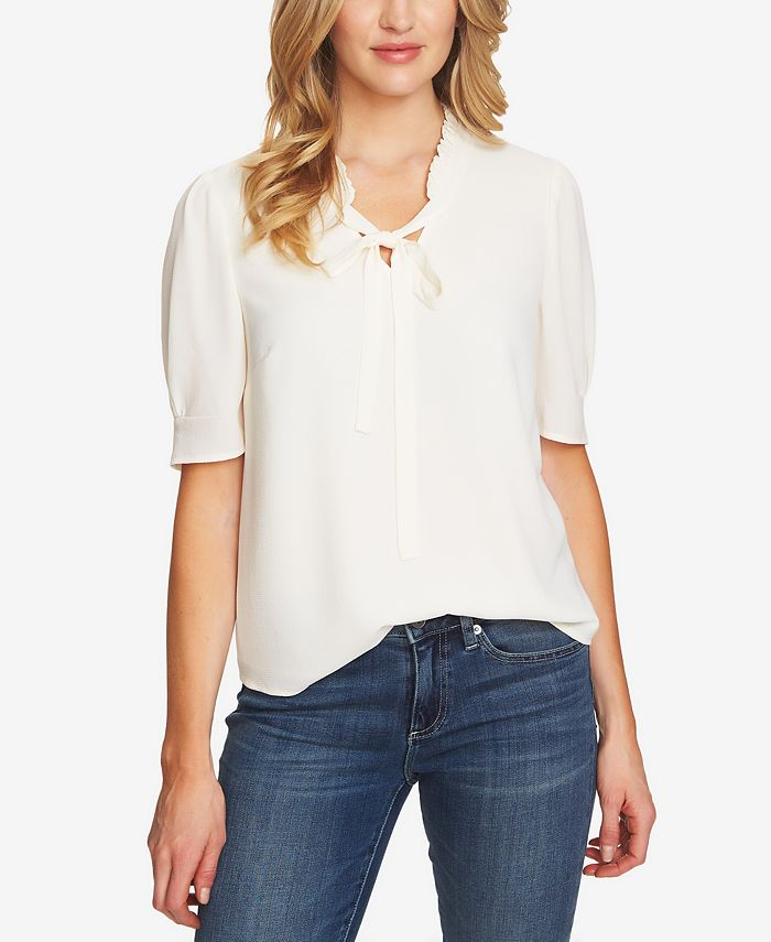 CeCe - Ruffled V-Neck Tie Top