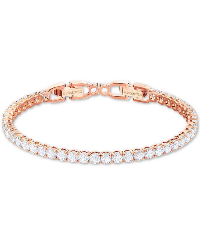 Rose Gold-Tone Crystal Tennis Bracelet