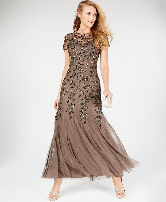 Adrianna Papell - Embellished Floral-Print Gown