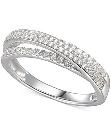 Cubic Zirconia Split-Band Ring in Sterling Silver