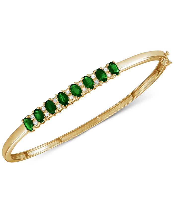 Macy's - Emerald (3-1/8 ct. t.w.) & Diamond (1/8 ct. t.w.) Bangle Bracelet in 14k Gold over Sterling Silver. (Also Available in Ruby/14K Rose Gold over Sterling Silver, orSapphire/Tanzanite in Sterling Silver)