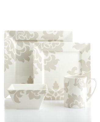 Martha Stewart Collection Lisbon Grey Square 4-Piece Place Setting