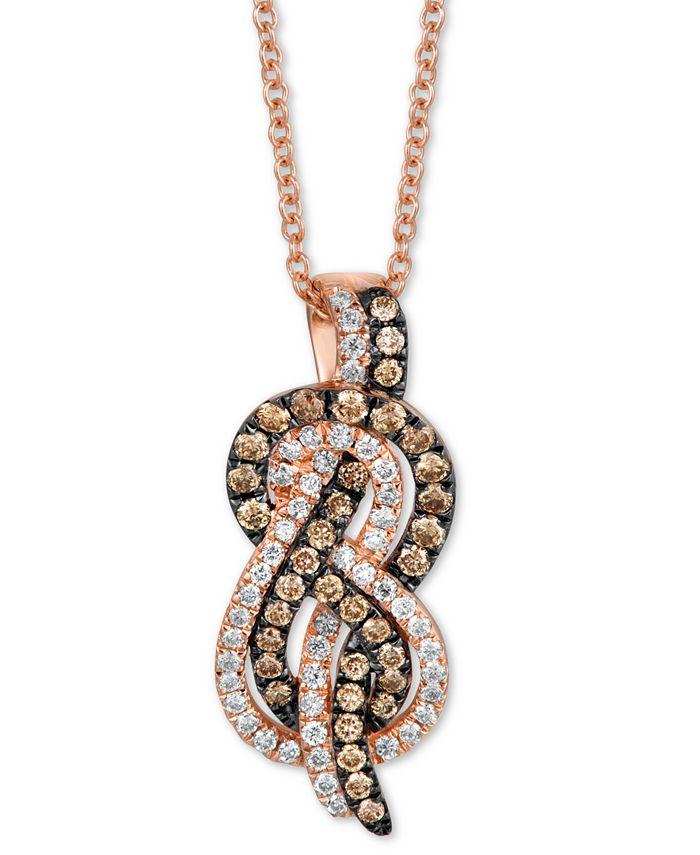 "Le Vian - Chocolate Diamond (1/4 ct. t.w.) & Vanilla Diamond (1/5 ct. t.w.) Knot 18"" Pendant Necklace in 14k Rose Gold"