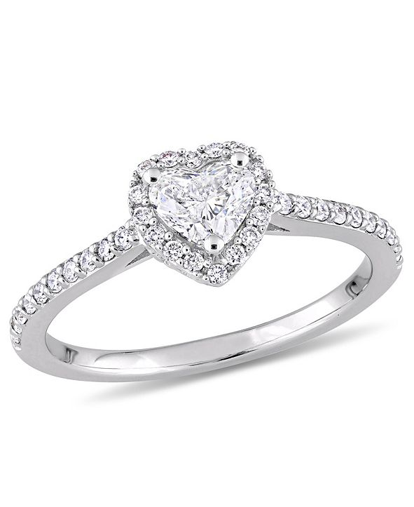 Macy's Certified Diamond (3/4 ct. t.w.) Heart and Round-Shape Engagement Ring in 14k White Gold