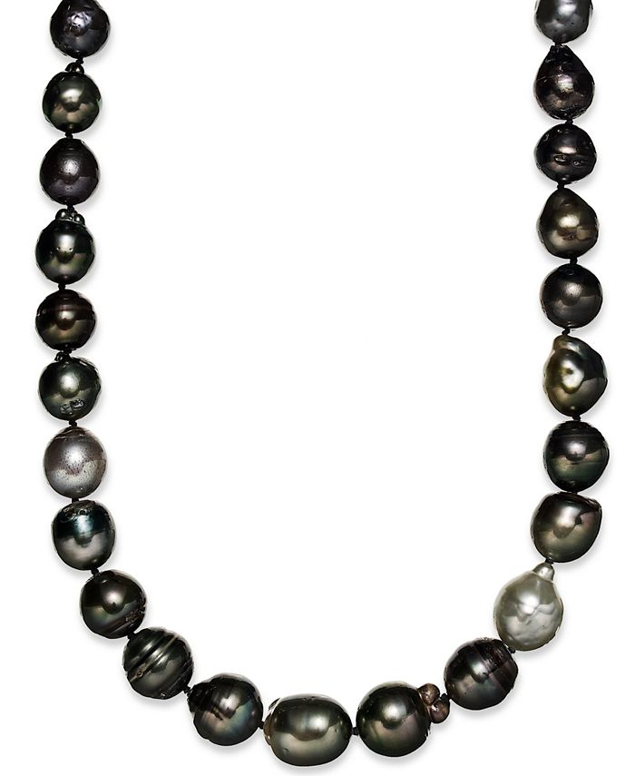 Macy's - Pearl Necklace, Sterling Silver Multicolor Cultured Tahitian Pearl Baroque Strand Necklace (9-11mm)