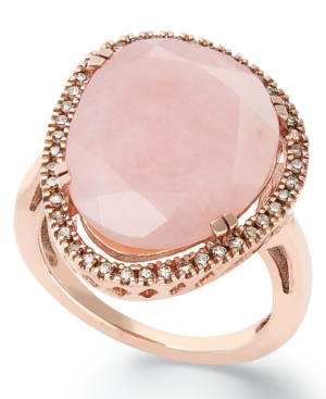 14k Rose Gold over Sterling Silver Ring, Pink Opal (10-3/4 ct. t.w.) and Diamond (1/4 ct. t.w.) Ring