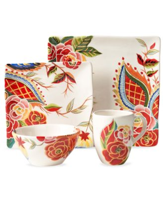 CLOSEOUT! Vida by Espana Rose Print Square 4-Piece Place Setting