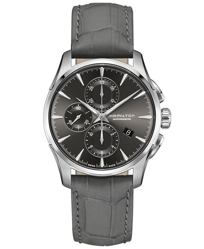 Hamilton - Men's Swiss Automatic Chronograph Jazzmaster Gray Leather Strap Watch 42mm
