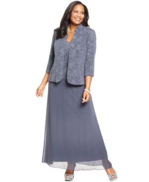 Alex Evenings Plus Size Dress and Jacket, Patterned Sparkle