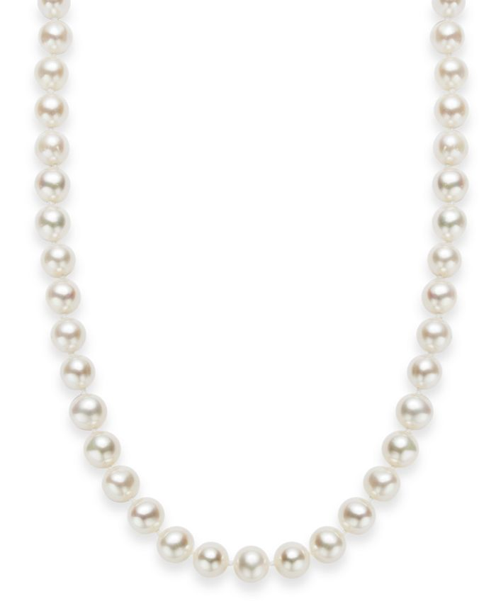 "Macy's - 18"" Cultured Freshwater Pearl Strand Necklace in Sterling Silver (7-8mm)"