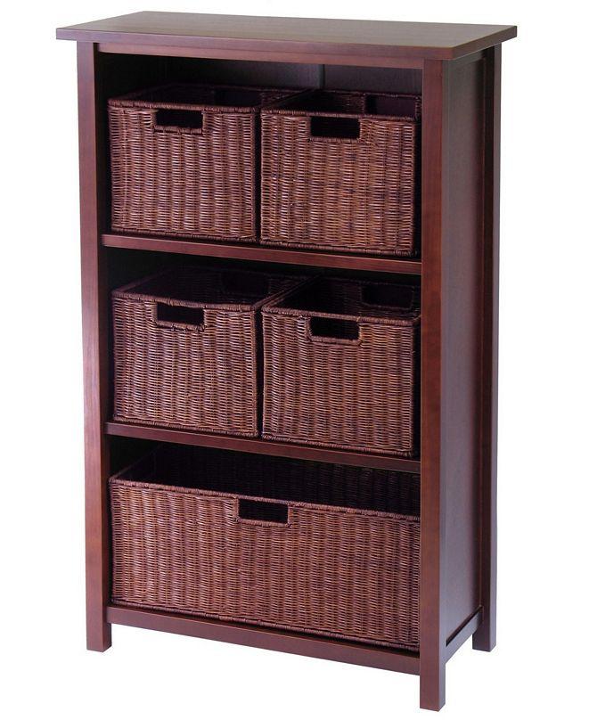 Winsome Milan 6-Pc Cabinet-Shelf and Baskets, Shelf, One Basket, 4 Small Baskets, 3 Cartons